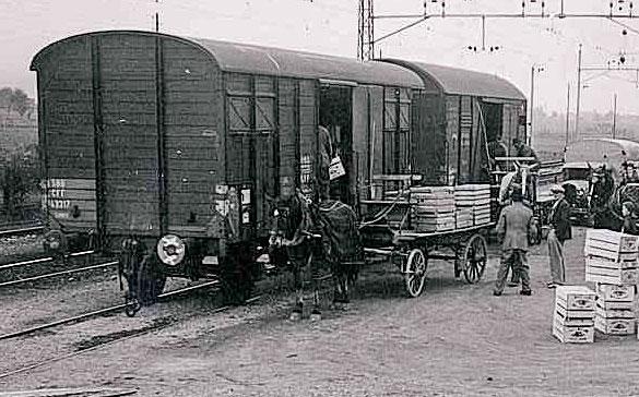 Bahnverlad mit Pferdefuhrwerken