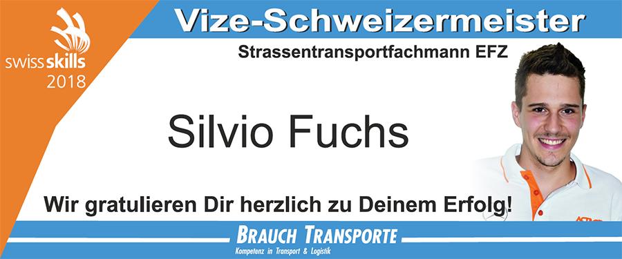 Silvio Fuchs ist Vize Schweizermeister Strassentransportfachmann EFZ
